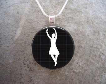 Highland Dancer on Black Tartan - 1 Inch Domed Glass Pendant for Necklace, Keychain, Backpack - Free Shipping -Style HIGHLAND11