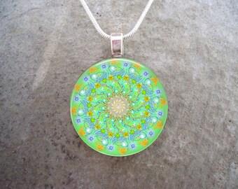 Mandala Jewelry - Glass Pendant Necklace - Free Shipping - sku MANDALA32