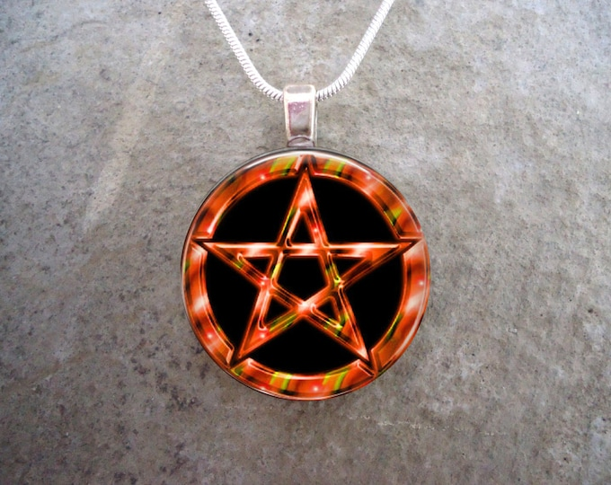 Wiccan Pentacle Jewelry - Glass Pendant Necklace - Black and Orange