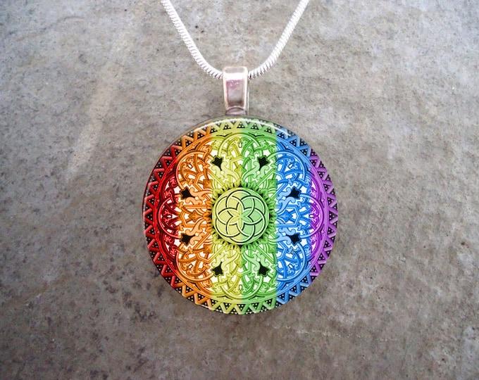 Celtic Jewelry - Glass Pendant Necklace - Celtic 32 Rainbow