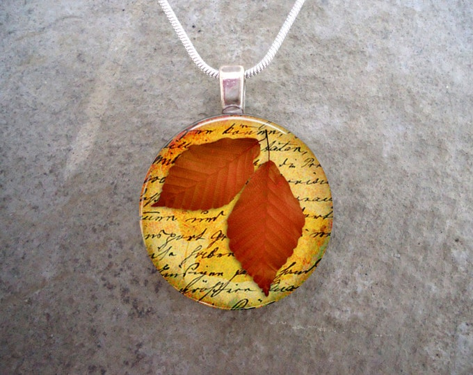 Leaf Jewelry - Glass Pendant Necklace - Autumn Leaves 2