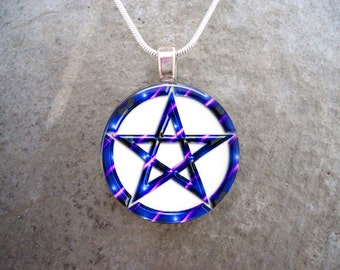 Wiccan Pentacle Jewelry - Glass Pendant Necklace - White and Blue - Free Shipping