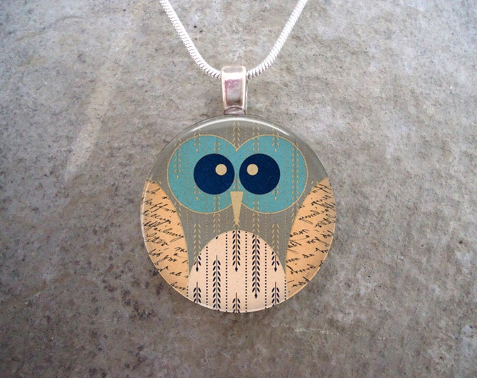 Owl Jewelry - Glass Pendant Necklace - Owl 15