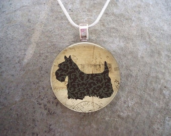 Celtic Jewelry - Dog Jewellery - Glass Pendant Necklace - Free Shipping - Style SCOTTIE21