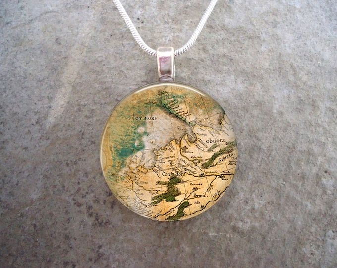 Watercolor Illustration Vintage Map Jewelry - Glass Tile Pendant Necklace - Key Chain - Free Shipping Anywhere - Gift Bag Included