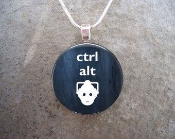 Doctor Who Jewelry - Glass Pendant Necklace - CTRL ALT DEL - Free Shipping - Style dw-ctrl