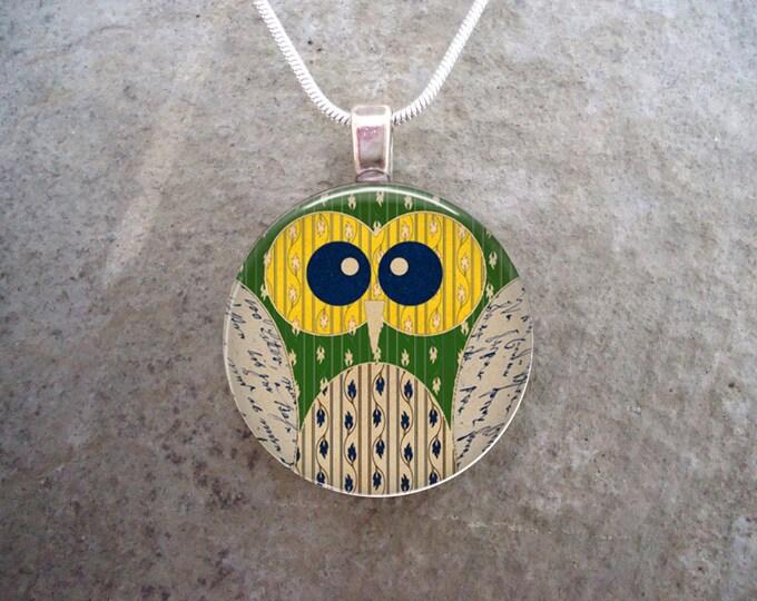 Owl Jewelry - Glass Pendant Necklace - Owl 13