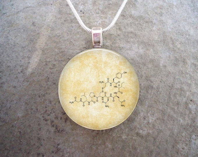 Chemistry Jewelry - Oxytocin Molecule Glass Pendant - 1 inch Domed Glass for Necklace or Key Chain - Free Shipping - Style CHEM-OXYTOCIN