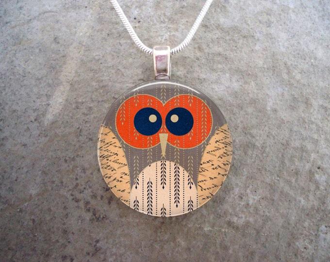Owl Jewelry - Glass Pendant Necklace - Owl 17