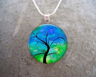 Tree of Life Jewelry - Glass Tile Pendant - Green and Blue - Best Selling