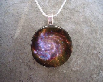 Galaxy M101 Glass Pendant - Astronomy Jewelry - Science Necklace