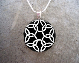 Black & White Stunning Celtic Jewelry - Trinity Knot Pendant - 1 Inch Domed Glass for Keychain or Necklace - Free Shipping - sku CELTIC03