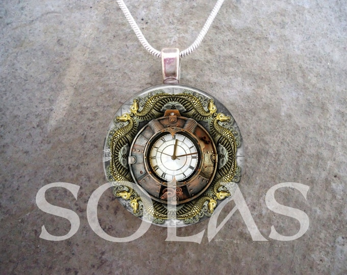 Steampunk Necklace - Glass Pendant Jewelry - Steampunk 1-12