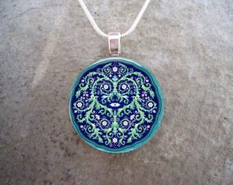 Beautiful Blue Vines & Flowers Mandala Pendant Jewelry - Can be used for Necklaces, Key Chains, Zippers - Free Shipping - Style MANDALA17