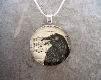 Crow Jewelry - Bird Jewellery - Glass Pendant Necklace - Free Shipping - sku RAVEN03