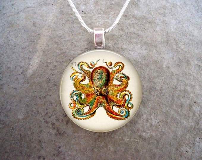 Octopus Jewelry - Glass Pendant Necklace - Octopus 2