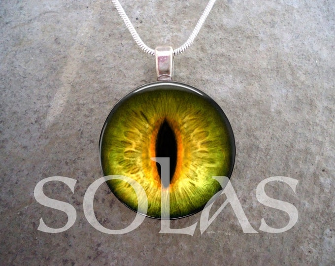 Dragon Eye Necklace - Cat Eye, Creature Eye Pendant Jewelry - Orange, Yellow and Black - Keychain Variation Available - Handmade In Canada