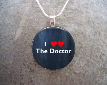 """Fun Whovian Jewelry - """"I (heart heart) The Doctor"""" Tardis Blue w/Red Love Hearts - Awesome gift for Any Fan- Free Shipping - Style DW-I<3"""