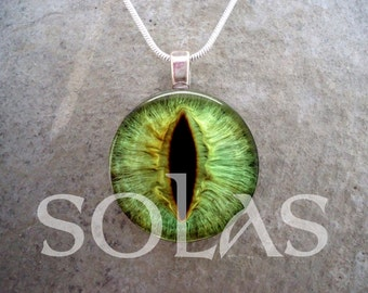 Emerald Green Dragon's Eye Jewelry - 1 Inch Diameter Domed Glass Pendant - Necklace or Keychain Available - Free Shipping - sku EYE23