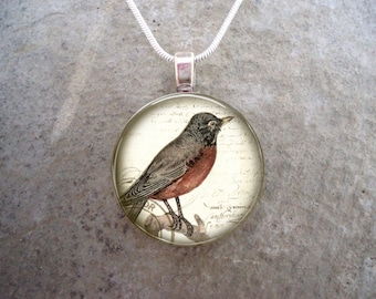 Robin Jewelry - Glass Pendant Necklace - Victorian Bird 4