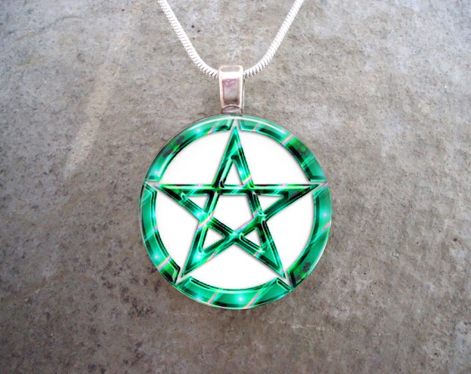 Wiccan Pentacle Jewelry - Glass Pendant Necklace - White and Turquoise - Free Shipping