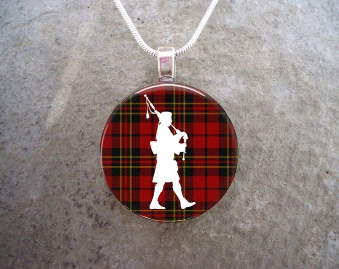 Celtic Jewelry - Glass Pendant Necklace - Highland Bagpipe Jewellery - Piper on Red Tartan