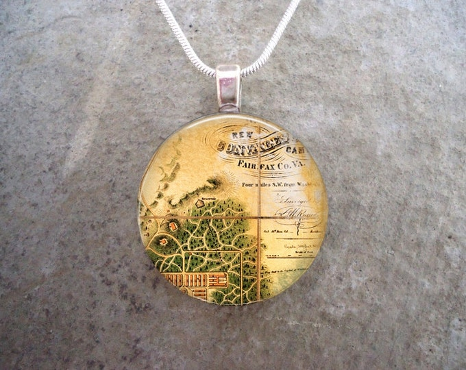 Antique Inspired Map Pendant Jewelry - Key Chain Option Available - 1 Inch Diameter Glass - Free Shipping & Free Gift Bag