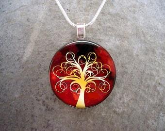 Tree Jewelry - Glass Pendant Necklace - Tree of Life Jewellery -  - Free Shipping - sku TREE01