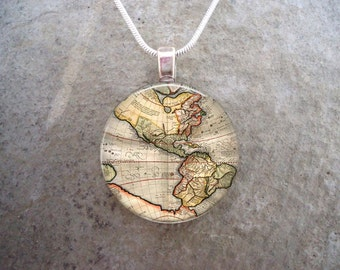 Antique 1670s Map of America 1 Inch Diameter Domed Glass Pendant Jewelry - Handmade - Necklace Or Key Chain - Free Shipping - sku MAP20