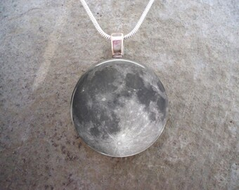 Full Moon Jewelry - 1 Inch Diameter Glass Pendant Necklace or KeyChain - Collect all 8 pendants - Free Shipping Style MOON-FULL
