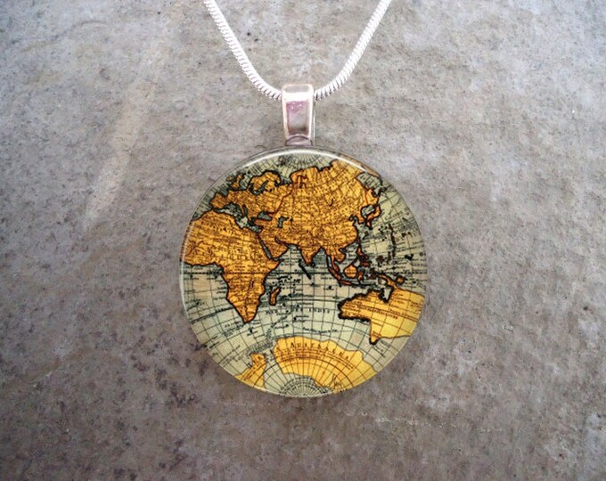 Vintage Map Of The World Jewelry - Unique Illustration of the Globe - 1 Inch Diameter Domed Glass - Great for Last Minute Gift Giving