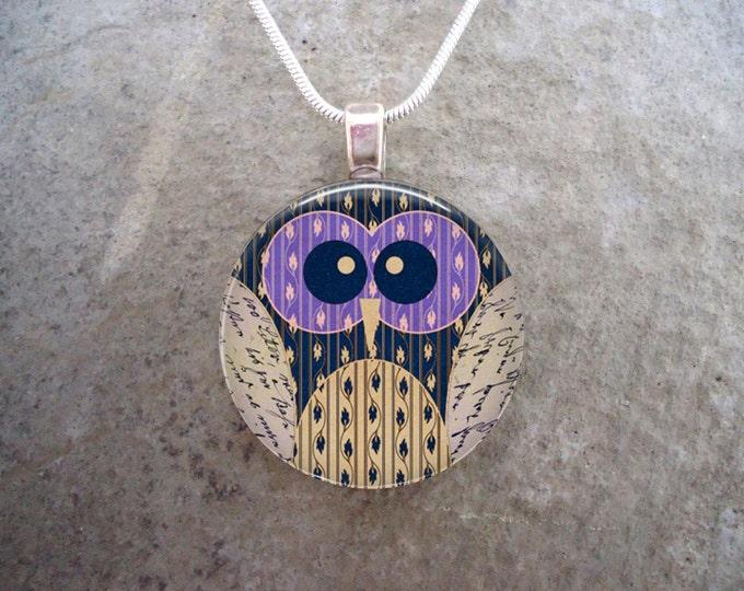 Owl Jewelry - Glass Pendant Necklace - Bird Jewellery