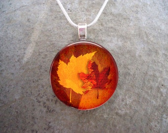 Canadian Maple Leaf Autumn Jewelry - Gorgeous Reds And Vibrant Yellow - Glass Pendant Necklace - Free Shipping - Style AUTUMN12