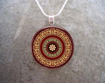 Mandala Jewelry - Glass Pendant Necklace - Mandala 10