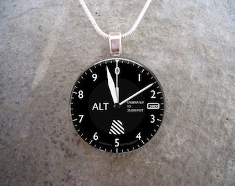 Altimeter - Pilot Jewelry - Glass Pendant Necklace - Aircraft Instrument Dial