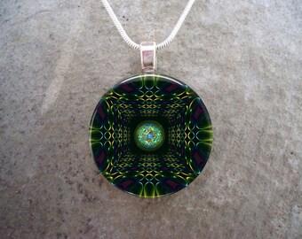 Mandala Jewelry - Glass Pendant Necklace - Free Shipping - sku MANDALA45