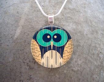 Owl Jewelry - Glass Pendant Necklace - Free Shipping - sku OWL06