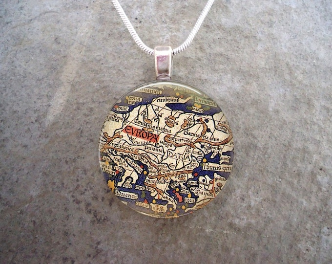 Vintage Map Pendant - 1 Inch Diameter Glass Tile - Ancient Europe - Key Chain Option Available - Great Travel Gift - Free Shipping