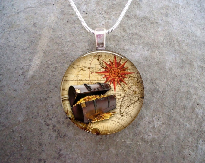 Pirate 1 - Cosplay Jewelry - Vintage Antique Style - Glass Pendant Necklace - sku PIRATE01