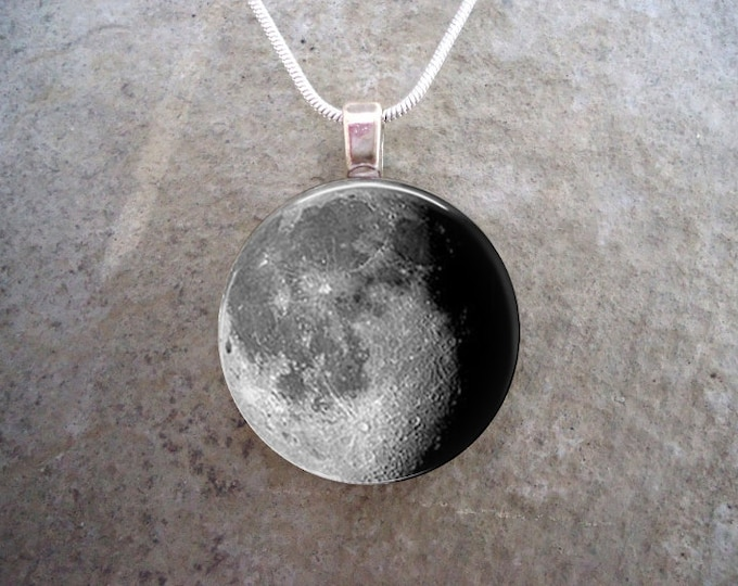 Waning Gibbous Moon Phase Pendant - 1 Inch Diameter Domed Glass - For Necklace or Key Chain - Astronomy Science Gift - Free Shipping