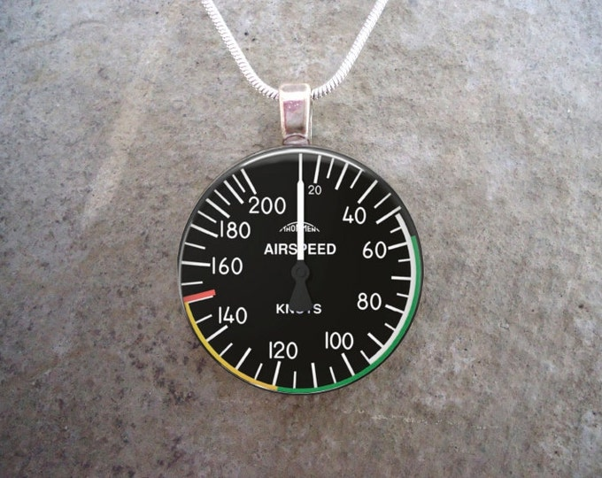 Pilot Jewelry - Airspeed Indicator - Glass Pendant Necklace - Aircraft Dial