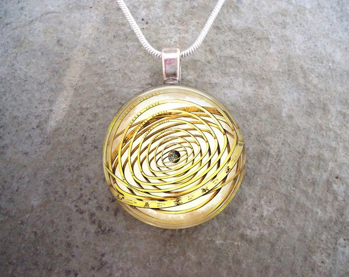 Victorian Style Illustration Pendant - Solar System Jewelry - Unisex Gift - 1 Inch Glass Tile Necklace - Stocking Stuffer - Free Shipping