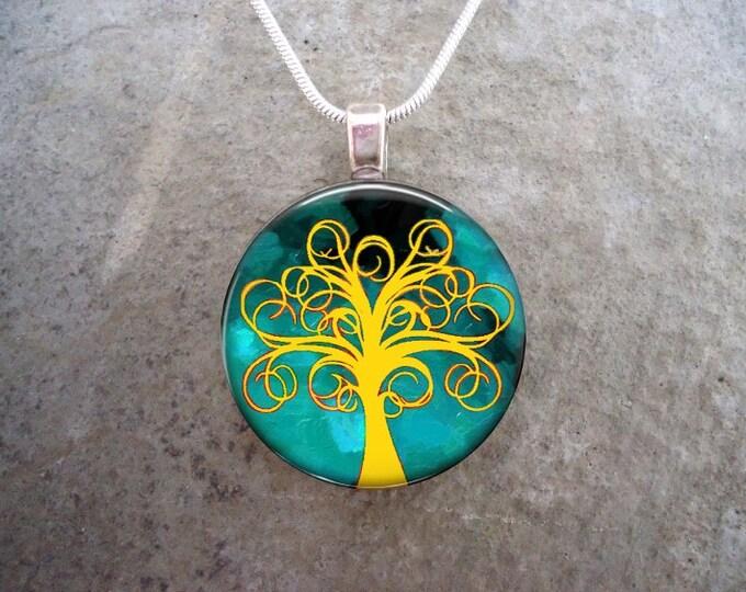 Tree Jewelry - Glass Pendant Necklace - Tree of Life Jewellery - Tree 13