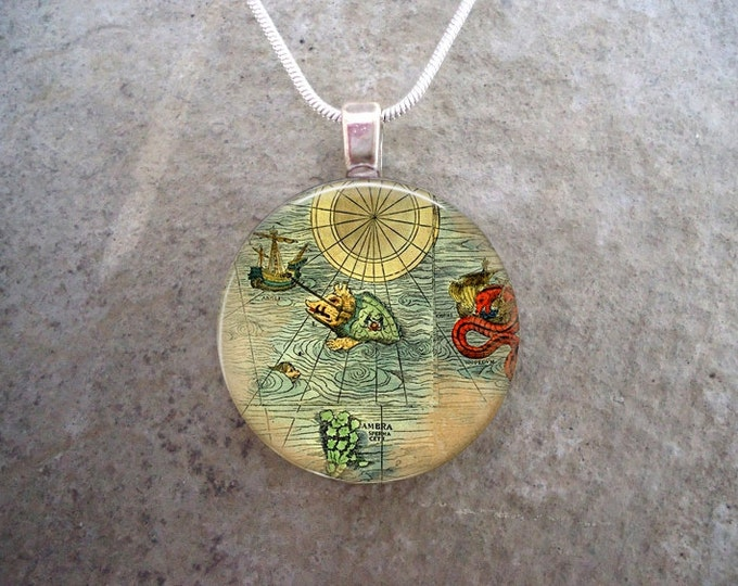 Antique Map Jewelry - Sea Monsters and Pirate Ships - Glass Tile Pendant Necklace Or Key Chain - Travel Gift - Free Shipping
