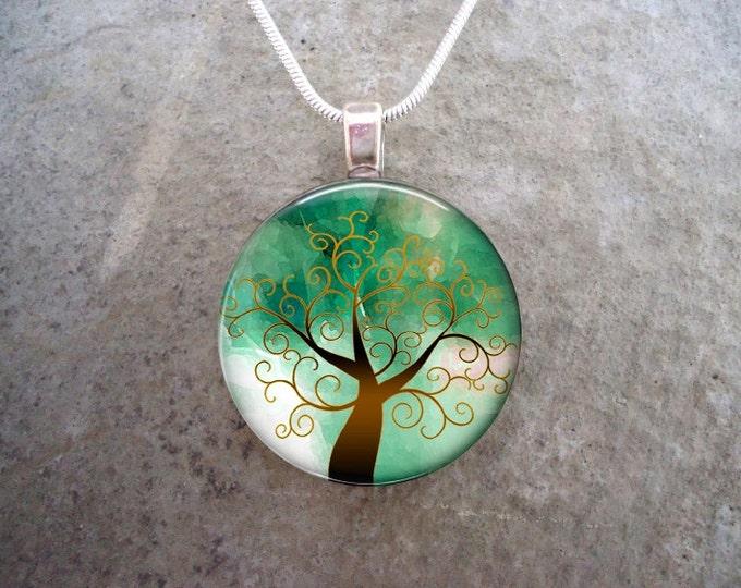 Tree Jewelry - Glass Pendant Necklace - Tree of Life Jewellery -  - Free Shipping - sku TREE18