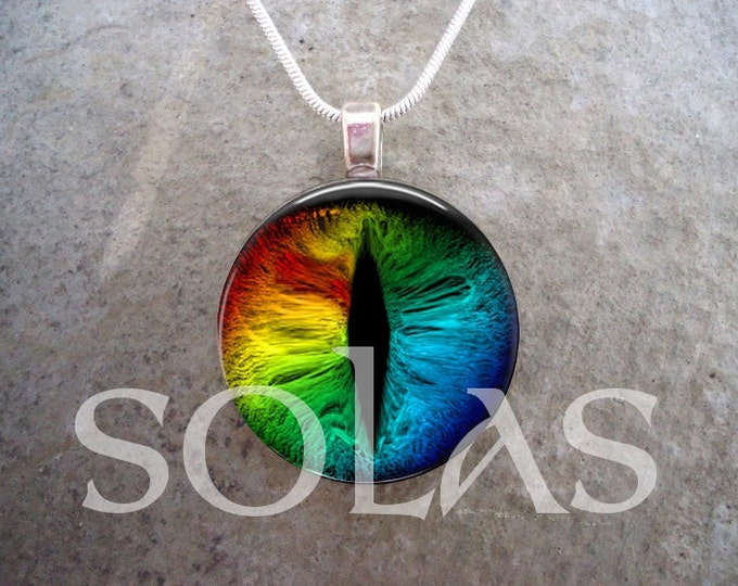 Rainbow Dragon Eye Jewelry - 1 inch Diameter Domed Glass Tile Pendant - Key Chain Variation Available - Best Selling Item from Solas Jewelry