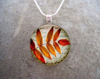 Beautiful Autumn Jewelry - Rusty Red & Orange Leaves on Parchment - Perfect Unisex Gift - 1 Inch Glass Pendant - Style AUTUMN18