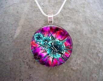 Virus Jewelry - Glass Pendant Necklace - Science Jewellery - Free Shipping - sku VIRUS11