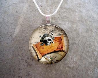 Pirate 3 - Pirate Skull and Treasure Map Jewelry - Glass Pendant Necklace - sku PIRATE03