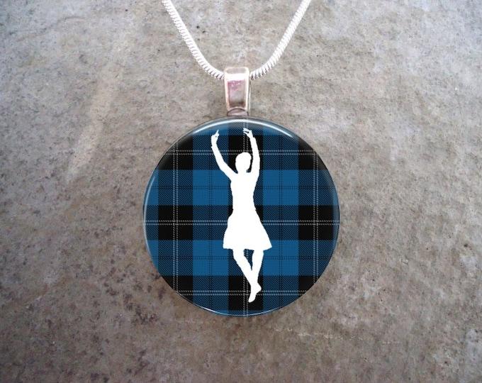 Celtic Jewelry - Glass Pendant Necklace - Highland Dance Jewellery - Dancer on Blue Tartan